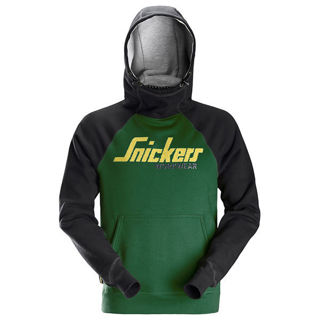 Snickers AW Logo Hoodie Green Murdock Builders Merchants